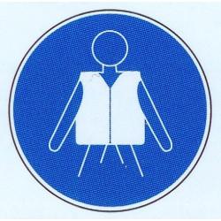 Panneau avec un obligation de respect panosignal - Port du gilet de sauvetage obligatoire ...