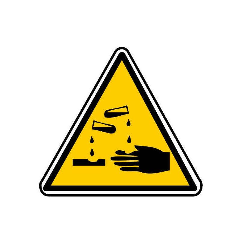 Panneau ou autocollant danger produits corrosifs