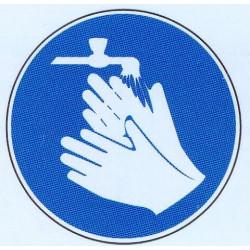 Panneau laver les mains obligatoire