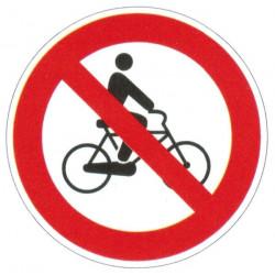 Panneau interdiction de circuler à bicyclette