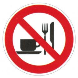 Panneau interdiction de manger et de boire