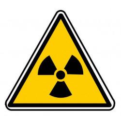 Panneau ou autocollant danger radiation ionisante