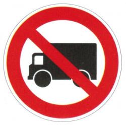 Panneau interdiction aux véhicules lourds