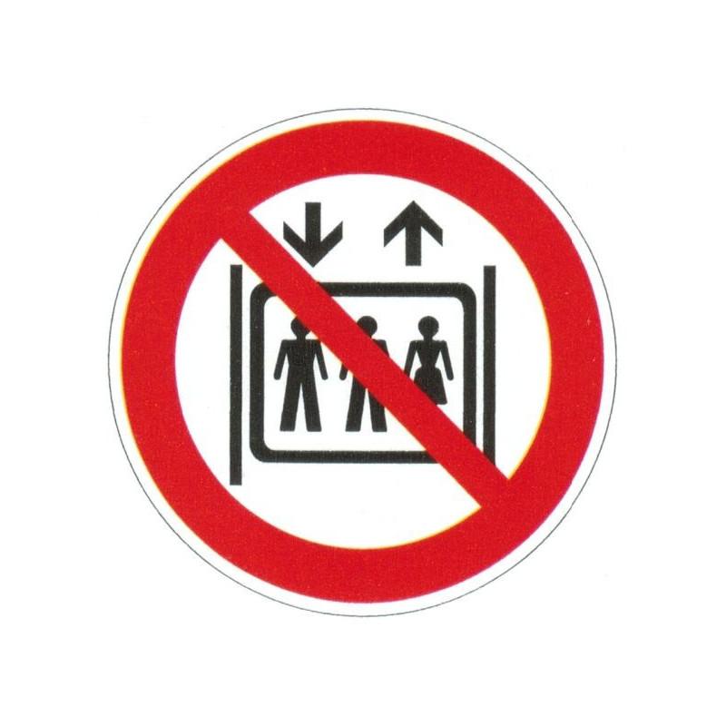 Panneau interdiction d'utiliser l'ascenseur
