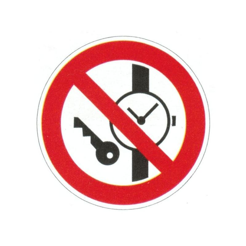 Panneau interdiction de porter des objets métallique