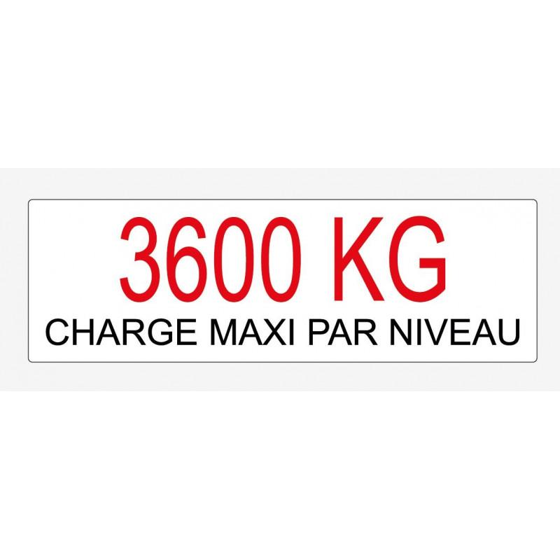 Etiquette de charge écriture noir et rouge sur fond blanc 250x80 mm