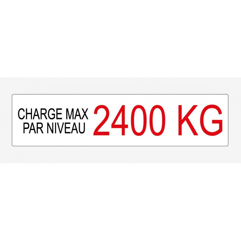 Etiquette de charge 230x55 mm écriture noir et rouge sur fond blanc