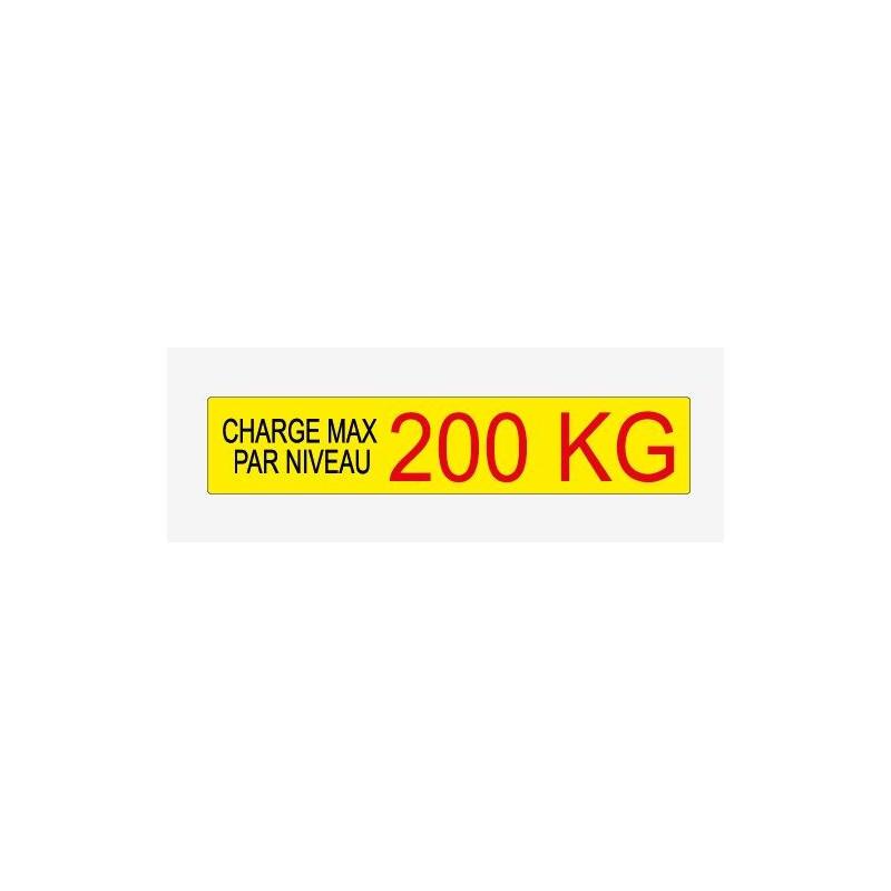 Etiquette de charge 135x27 mm écriture noir et rouge sur fond jaune