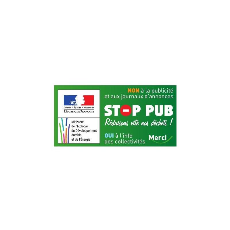 Sticker officiel Stop Pub pour boite à lettre