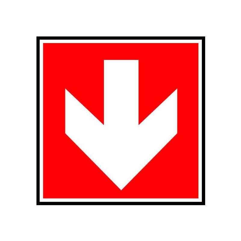 Panneau ou autocollant indiquant de suivre la direction vers le bas