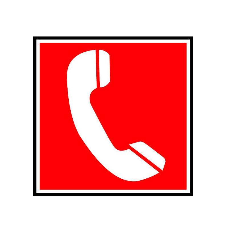 Panneau ou autocollant indiquant un téléphone pompier