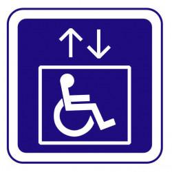 Panneau ou autocollant information indiquant un ascenseur pour handicapé