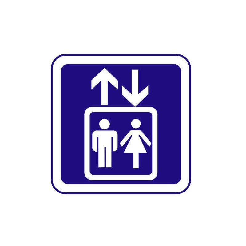 Panneau ou autocollant information indiquant un ascenseur