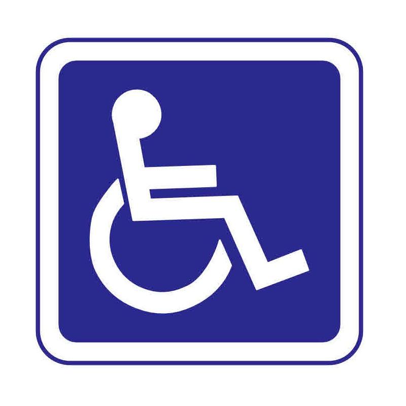 Panneau ou autocollant information indiquant un lieux réservé aux handicapés