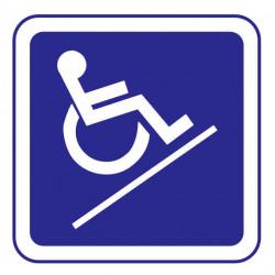 Panneau ou autocollant information indiquant une rampe pour les handicapés