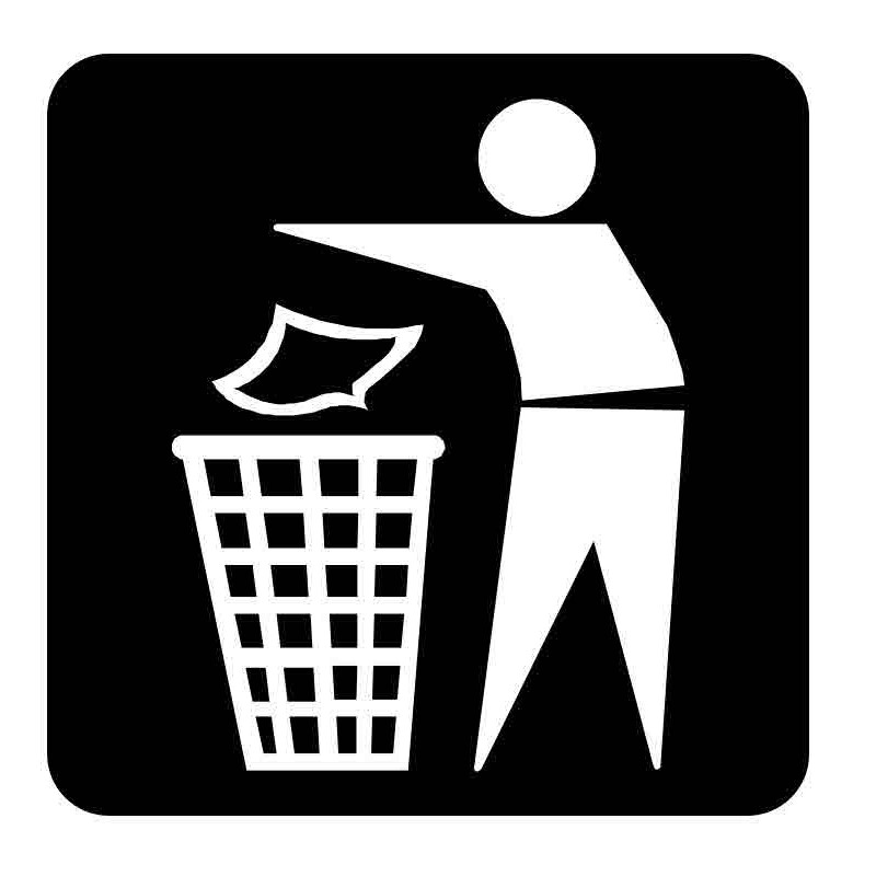 Panneau ou autocollant information indiquant une poubelle