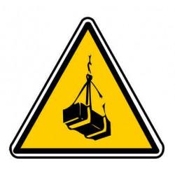 Panneau ou autocollant danger charges suspendues