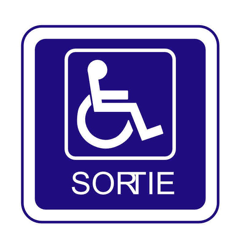 Panneau ou autocollant information indiquant une sortie pour les handicapés
