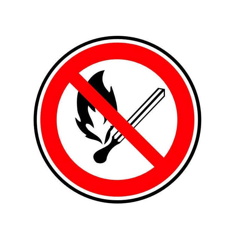 Panneau ou autocollant interdiction aux flammes nues
