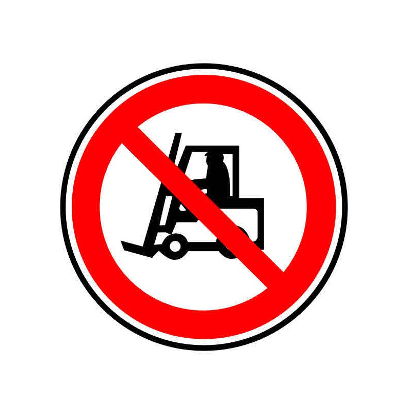 Panneau ou autocollant interdiction d'utiliser un chariot élévateur