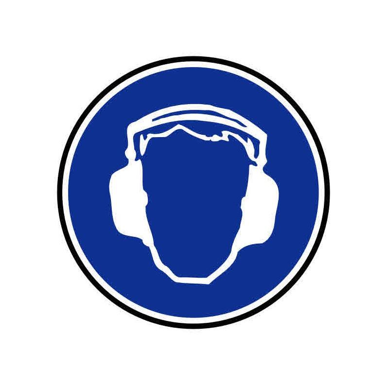 Panneau ou autocollant port de casque pour le bruit obligatoire