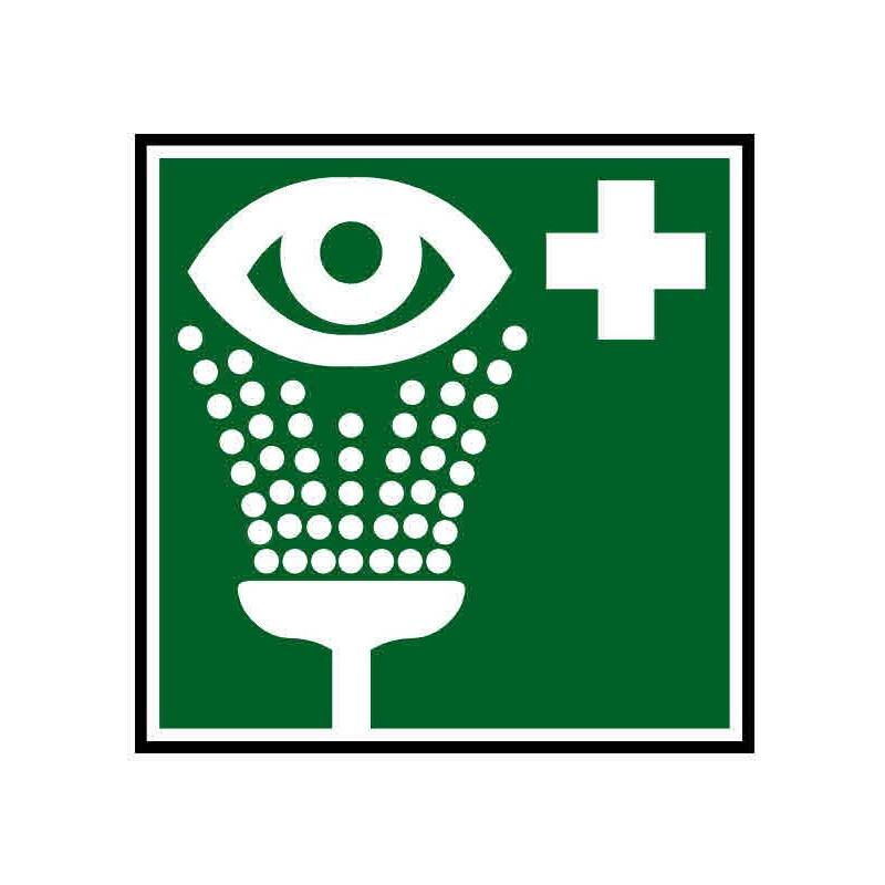 Panneau ou autocollant indiquant un rince yeux