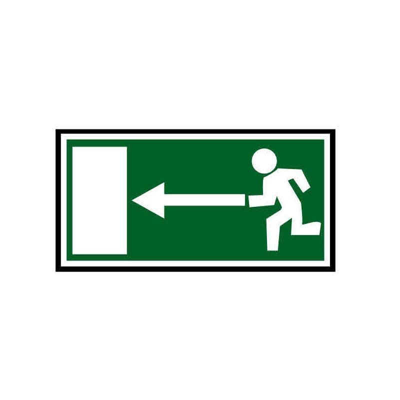 Panneau ou autocollant indiquant une sortie de secours à gauche