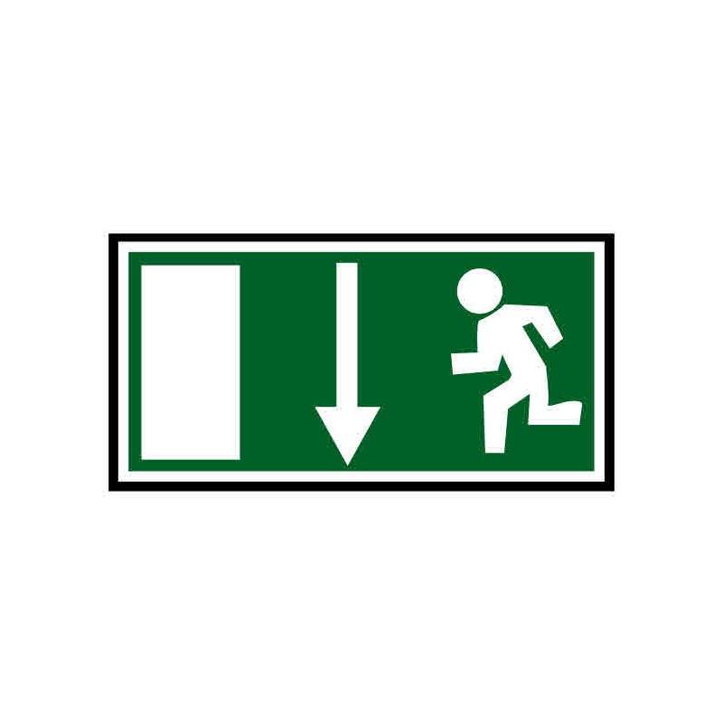 Panneau ou autocollant indiquant une sortie de secours en bas