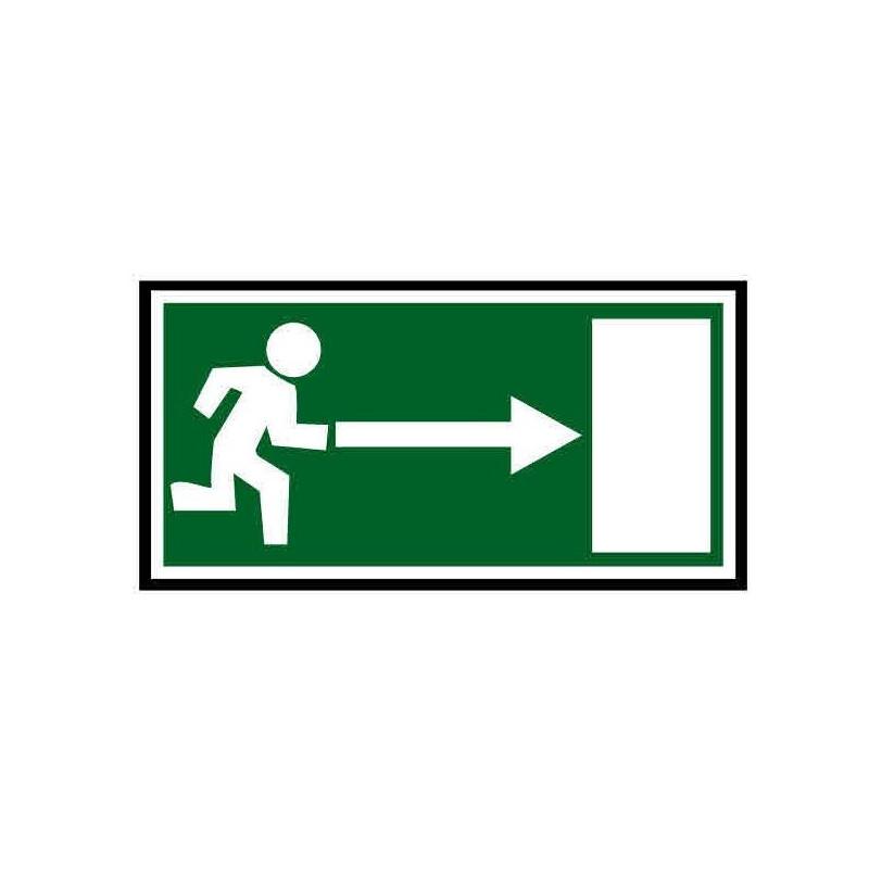 Panneau ou autocollant indiquant une sortie de secours à droite