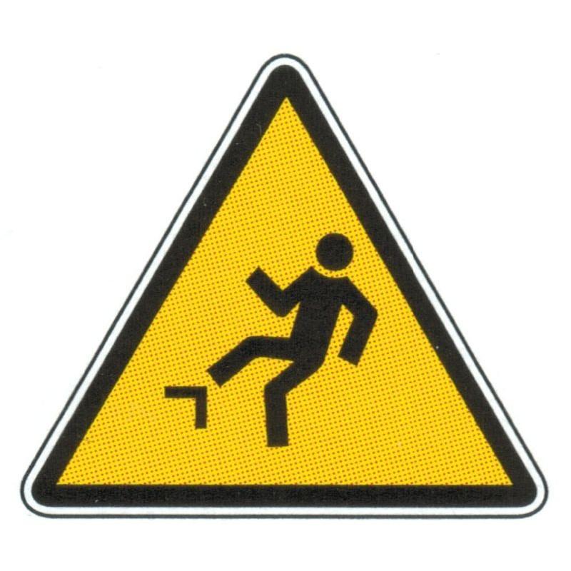 Panneau danger risque de trébucher